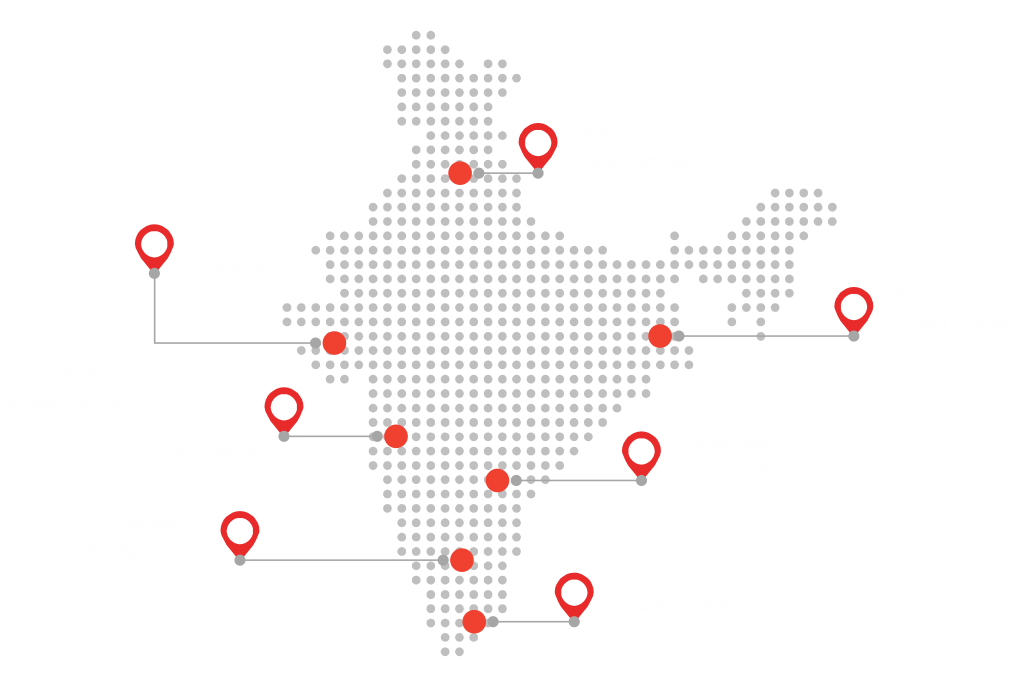 India Map with STT GDC India's data centres